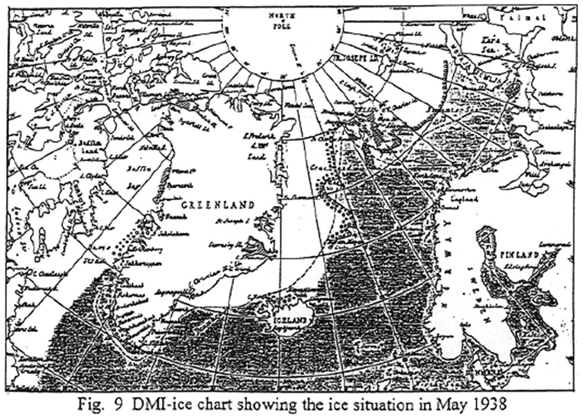 DMI ice chart showig the ice situation in May 1938